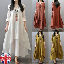 UK Womens Oversized Long Sleeve Tunic Loose BOHO Maxi Jumper Shirt Dress Kaftan