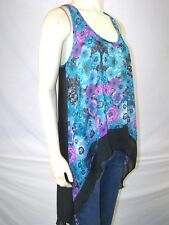 Ali Kris Blue Green Purple Floral Sheer Tank Top Juniors Size Large 11 13