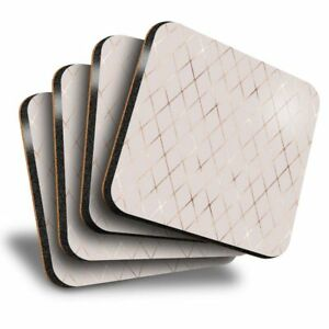 Set of 4 Square Coasters - Rose Gold Rhombus Tiles Art Deco  #21584