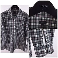 J.Crew Mens Large Gray & White plaid Long Sleeve Pocket Button Front P-40