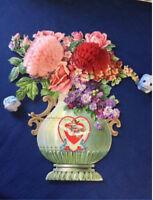 """HUGE VTG 17"""" Antique Valentine Card Embossed Roses Honeycomb Vase 1911 RARE"""