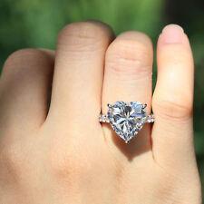 Certified 2.70Ct White Heart Diamond 14K White Gold Engagement & Wedding Ring
