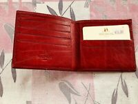 MIGNON PARIS Vintage Soft Red Leather Billfold Wallet NWT Made France Imperfect