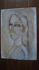 Peinture acrylique Portrait de femme d'après Picasso C.Chauvin artiste cotée