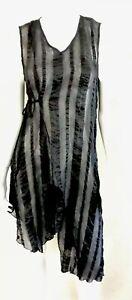 SANDRA black sheer asymmetrical tie waist tunic ~ sz 12