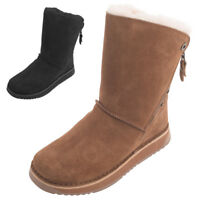 Ladies Womens Genuine Sheepskin Biker Style Boots Hard Sole Zip Opening UK5 UK6