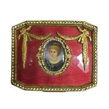 Antique Frence Guilloche Hand Painted Enamel Bronze Jeweled Ormolu Jewel Box