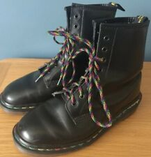 Dr Doc Martens Black Boots Size 3 Rainbow Stitching And Laces