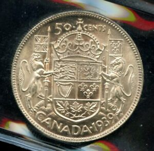 1939 Canada 50 Cents Silver Coin ICCS MS-64