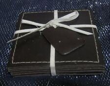 8x Faux Leather coasters brown approx 3½ x 3½ ins