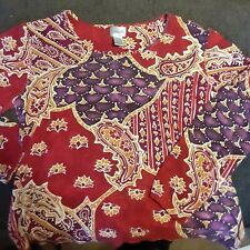 Chico's size 3 = size 12 Burgandy purple Embellished Floral 3/4 Sleeves Top