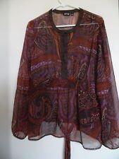 APT. 9  Long Sleeve Brown Purple Orange Floral Sheer Tunic top Shirt  Women's XL