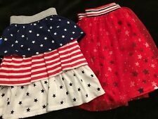 NWT Lot 2 July 4th Patriotic Red, White & Blue Skirts - Stars & Stripes 10-12