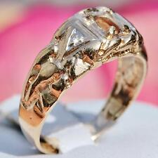 10k yellow gold  ring mounting 33pt head diamond nugget sz 7.75 handmade  3.2g