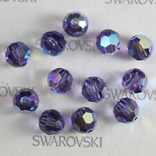 48 pcs Swarovski Element 5000 faceted 4mm Round Ball Beads Crystal Tanzanite AB