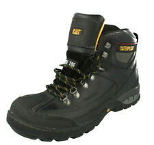 Mens Caterpillar Black Leather Safety Steel Toe Cap Work Boots : Dynamite WP
