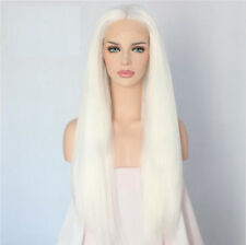 """24"""" Long Straight White Lace Front Wig Heat Resistant Synthetic Hair"""
