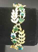 Linser Vintage Green Gem Gold Tone Leaf Bracelet Beautiful