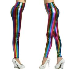 Women Faux Leather Leggings Rainbow Striped Shiny Fitness Pants Trousers Casual