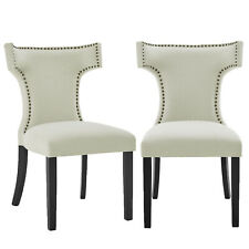 Upholstered Fabric With Nailhead Trim Padded Dining Chairs Wood Legs, Set of 2