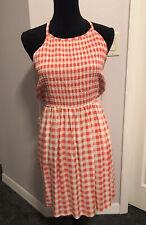 Derek Heart Sun Dress MEDIUM checkered orange white peach NWT beach coverup
