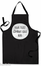 Personalised Splashproof Novelty Apron Black Any Logo/Text Cooking Painting