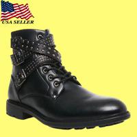 Steve Madden Men's Brando Jean Leather Boots Black US Size 8.5