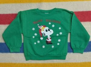 VTG 80s Peanuts USA Snoopy Joe Cool Woodstock Christmas Crewneck Sweater 7