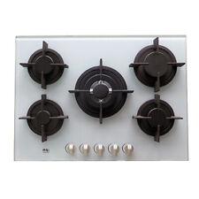 Construit en plaque de cuisson au gaz 5 brûleurs verre blanc Brûleur Cuisinière Wok Soutien 70 cm GPL NJ-705G