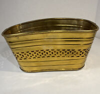 SNK Enterprises Lacquered Solid Brass Planter Reticulated Design 11048