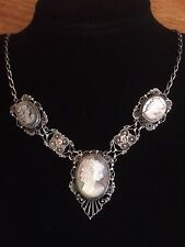 Antique Victorian Sterling Silver 925 Filigree, Triple Shell Cameo Necklace