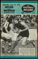 1974 Football Record Geelong vs Melbourne Footy Record August 31