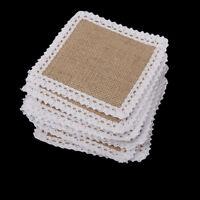10pcs Vintage Burlap Placemats Square Jute Wedding Table Mats 11.5x11.5cm