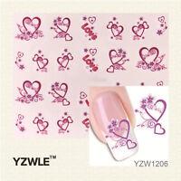 Valentines Nail Art Water Decals Stickers Pink Love Hearts Gel Polish (1206)