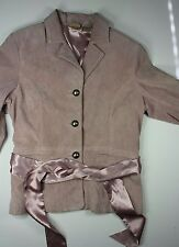 Ruff Hewn Women's Pink Washable Large Leather Jacket with Sash Tie