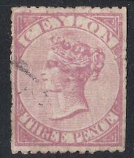 BC1025) Ceylon 1866 Queen Victoria 3d Rose SG 60 used with faults. Cat. £100