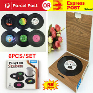 6X Vinyl Cd Cup Pad Drinks Mat Vintage Record Groovy Disk Coasters TablePlacemat