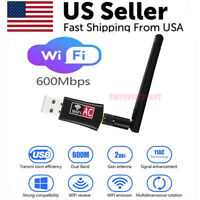 600Mbps Wireless USB Wifi Adapter Dongle Dual Band 2.4G/5GHz W/Antenna 802.11AC