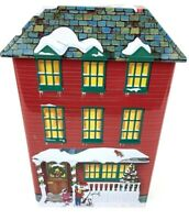 Winter Snowman Christmas Embossed Metal Tin House Building Village Container