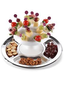 chg Party-Pilz mit 32 Partyspießen | Buffet | Servierplatte | rostfrei