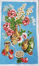 """VINTAGE """"Flower Power"""" Psychedelic Coquelicots rétro années 1960 Coton Torchon"""