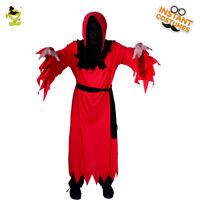 Man Red Long Robe Devil Costumes For Halloween Party Role Play Fancy Suit