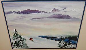 E.HUNGTON SNOW MOUNTAINS SKIER LANDSCAPE WATERCOLOR PAINTING