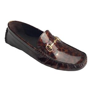 Cole Haan Patent Leather Leopard Animal Print Loafer Flat Shoes Comfort Slip On