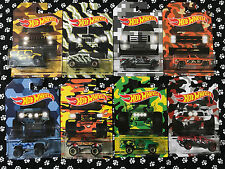 2017 Hot Wheels Camouflage TRUCKS Set of all 8 Walmart Set Bent CARDS