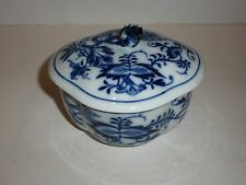 Meissen Mark Oval Covered Bowl, Blue Flowers and Leaves, Raised Design-FLAW