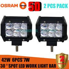 2X 5D 4inch 42W OSRAM Led Light Bar SPOT Work Light 4WD Off-road Driving Lamp*