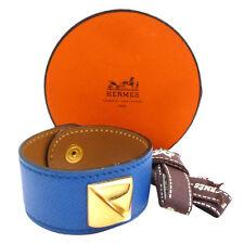 Authentic HERMES Medor Bangle Bracelet Blue Leather #S202133