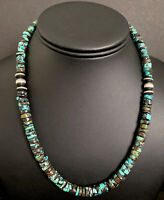 Sterling Silver Turquoise Heishi Bead Necklace. 18 inch