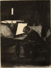 Effet de lumière Artiste Graveur Eau forte originale Francois Bonvin XIXème